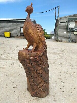 £400 • Buy Great Christmas Gift Elm Sussex Chainsaw Wood Carving Peacock Garden Sculpture