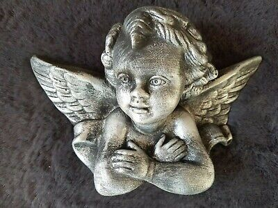 £16 • Buy 1 Architectural Plaster Cherub Angel Wing Face Wall Decor Plaque Moulding Pewter