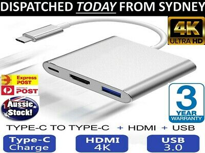 AU23.96 • Buy Type C To USB-C HDMI USB 3.0 Adapter Converter 3 In 1 Hub For MacBook Pro AUSSIE