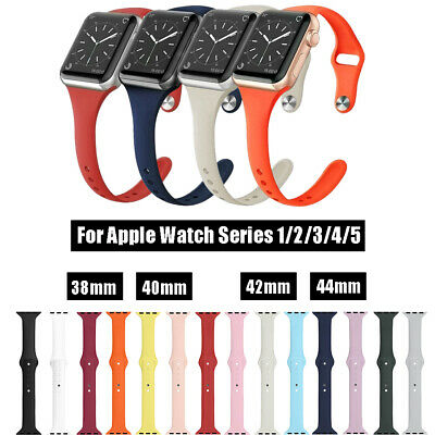 $ CDN6.75 • Buy Silicone Sport Band For Apple Watch Series 5 4 3 2 1 Slim IWatch Strap Men Women