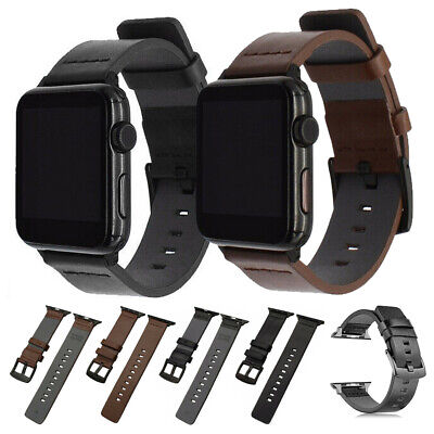 $ CDN12.87 • Buy For Apple Watch Series 5 4 3 2 1 Genuine Leather Band Strap IWatch 40/44/38/42mm
