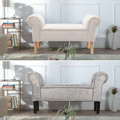 Padded Linen/Velvet Luxury Benches Bedroom Bed End Stool Bench Window Chair Seat • 65.95£