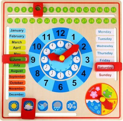 Tooky Toys Wooden My Calendar Time Date Months Weather Age 3+ • 9.99£
