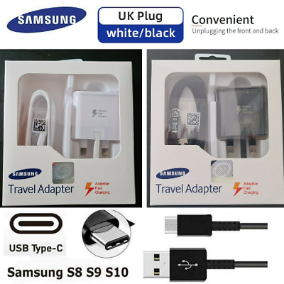 ORIGINAL SAMSUNG FAST CHARGER PLUG &CABLE FOR GALAXY S8 S8+ S9 S10 & Note 8,9,10 • 3.49£
