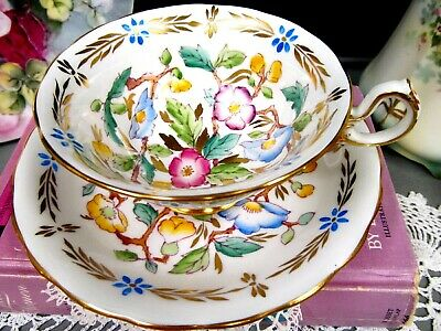 $50.96 • Buy ROYAL CHELSEA Tea Cup And Saucer Large Wide Mouth Painted FLORAL  Teacup 1940s