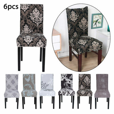 £7.99 • Buy 6x Dining Chair Seat Covers Spandex Slip Banquet Home Protective Stretch Covers