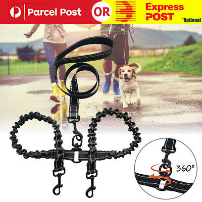 AU23.30 • Buy Double Dog Coupler Twin Lead 2 Way Strap Two Pet Dogs Walking Leash Safety Chain
