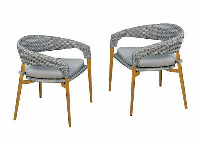 AU240.99 • Buy 2PCS Outdoor Furniture Wicker Dining Chairs Cushion Lounge Chairs Garden Patio