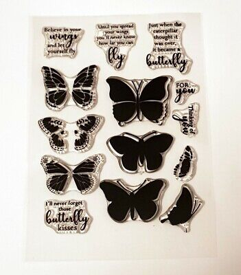 £3.99 • Buy Layered Butterfly Stamps - With Various Sentiments - BNIP - FREE P & P