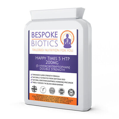 AU16.62 • Buy Happy Times 5 HTP 200mg (5-Hydroxytryptophan) 90 Capsules Bespoke Biotics