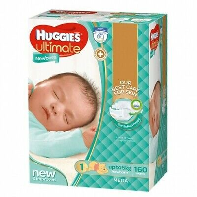 AU99 • Buy New Huggies Ultimate  Nappies Unisex - Disney Designs Newborn Size 1, Carton (18