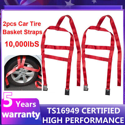 AU42.99 • Buy 2X Car Basket Straps Adjustable Tow Dolly DEMCO Wheel Net Set Flat Hook Red