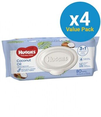AU45.45 • Buy New Huggies Baby Wipes Coconut Oil - White Convenience Packs (4 X 80Pk)