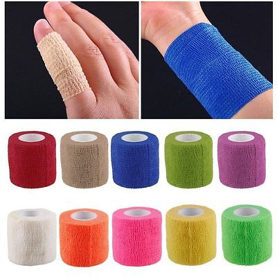 4.5M Roll Cohesive Sports Self Adhesive Athletic Support Wrap Bandage Strap Tape • 1.78£