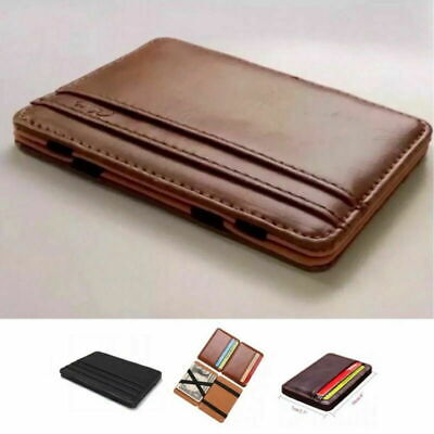 AU7.99 • Buy RFID Blocking Magic Flip Leather Wallet Slim Credit Card Holder Mens Money Clip