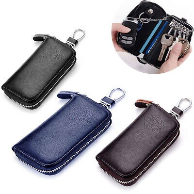 AU12.59 • Buy Genuine Leather Wallet Car Key Holder Case Keychain Bag Zip Pouch With Card Slot