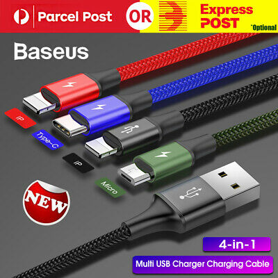 AU12.59 • Buy Baesus 4-in-1 Multi USB Charger Charging Cable Cord For IPhone Type C Micro USB