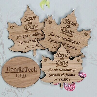 AU66.30 • Buy Wooden Autumn Leaf Save The Date Personalised Wedding Invite Magnets Rustic