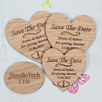 AU91.34 • Buy Wooden Heart Save The Date Personalised Wedding Invite Magnets Rustic