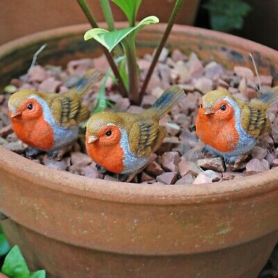£12.99 • Buy Set Of 3 Pot Topping Robin Bird Garden Ornaments
