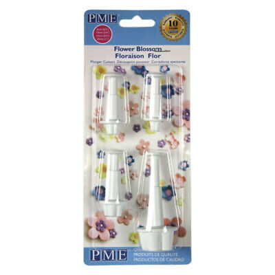 PME Set Of 4 FLOWER BLOSSOM Plastic Icing Cut Out Plunger Cutter Sugarcraft Cake • 9.99£