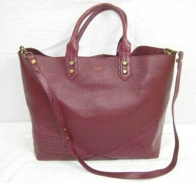 $68.78 • Buy Treesje Womens Handbag Leather Tote Dark Red Pebbled Alligator Print Large Purse