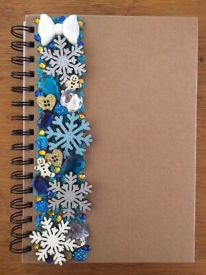 Decoden Hand Made Note Book Gift Silver Blue Snowflakes Kawkaii Stationery Xmas • 7£