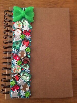 Decoden Hand Made A5 Note Book Gift Green Xmas Cute Kawkii Stationery Present • 7£