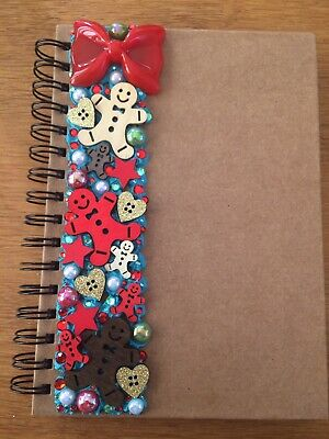 Decoden Hand Made Note Book Gift Red Xmas Cute Kawkii Stationery Gingerbread Men • 7£