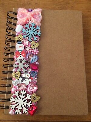 Decoden Hand Made Note Book Gift Pink Snowflakes Cute Kawkii Christmas Present • 7£