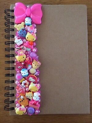 Decoden Hand Made A5 Note Book Gift Hello Kitty Cat Pink Cute Kawkii Stationery  • 7£