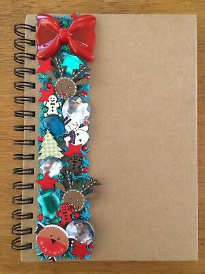 Decoden Hand Made Note Book Gift Green Red Xmas Reindeer Cute Kawkii Stationery  • 7£