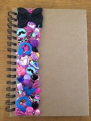 Decoden Hand Made Note Book Gift Purple Pink Black Music Cute Kawkii Stationery • 7£