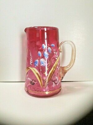 $59 • Buy Antique Cranberry Enameled Cream Pitcher, Blue Bell Flowers