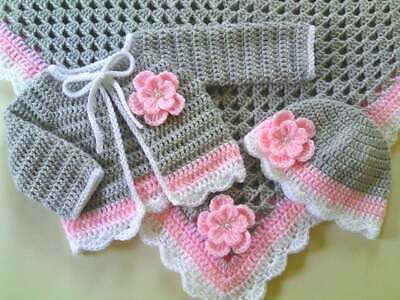 Crochet PATTERN Baby Blanket Hat Cardigan. PDF Pattern To Email Or Post Pattern. • 1.69£