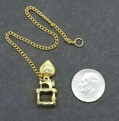 $4.99 • Buy Mini Sewing Machine Charm Gold Tone W/Heart On A 5  Chain Small Doll Jewelry