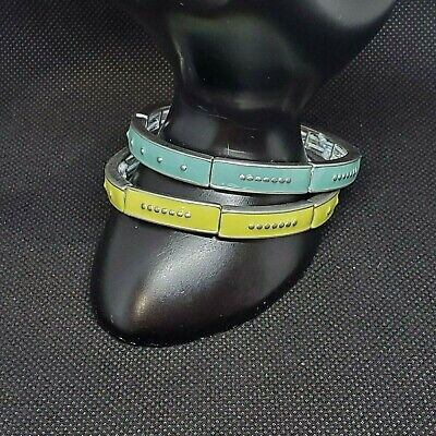 $ CDN13.27 • Buy Lot Of 2 Signed Lia Sophia Stretch Bangle Bracelets Yellow Blue Enamel