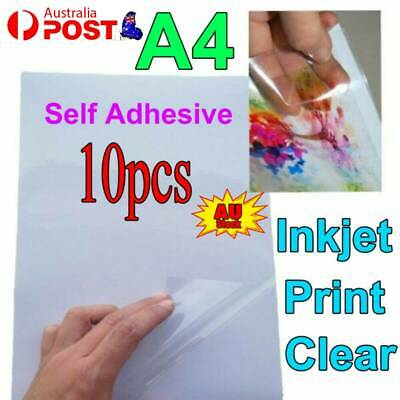 AU10.97 • Buy 10x A4 Transparent Clear Glossy Self Adhesive Sticker Paper Label Inkjet Print