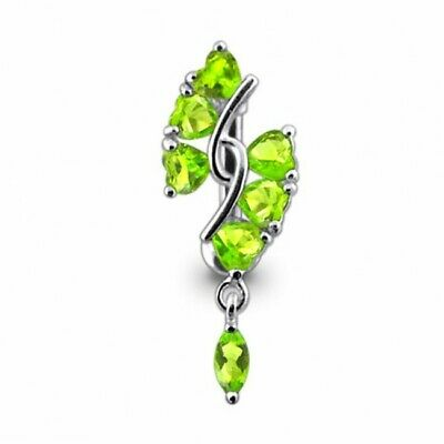 £10.95 • Buy Reverse Belly Bar Green Heart Top Drop Silver And Surgical Steel Navel Ring