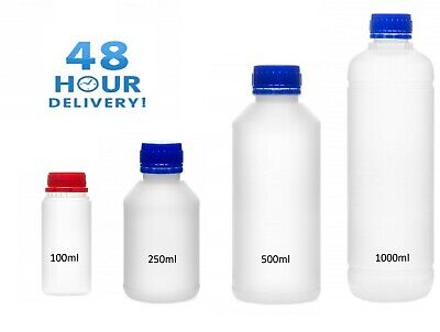 Plastic Bottles Natural HDPE With Screw Top Lid  100ml 250ml 500ml 1000ml • 6.29£
