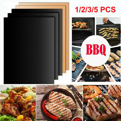 AU15.99 • Buy 5PCS BBQ Grill Mat Teflon Reusable Sheet Resistant Non-Stick Barbecue Bake MeatR
