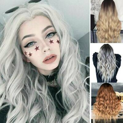 £10.59 • Buy Womens Ladies Real Ombre Blonde Long Curly Wigs Natural Wavy Hair Cosplay Wig UK
