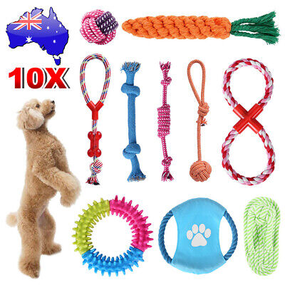 AU26.95 • Buy 10pcs Dog Rope Toys Pet Puppy Chew Tough Gift Durable Dental Clean Teeth Bite