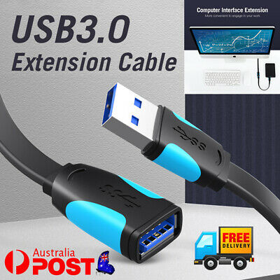AU10.86 • Buy USB 3.0 Male To Female Extension Cable Super Speed Data Sync Extender Flat Cord