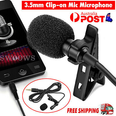 AU10.39 • Buy Clip-on Mic Microphone 3.5mm Lapel Lavalier For IPhone & Android Smartphones PC