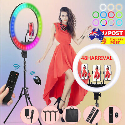 AU47.29 • Buy 18  RGB Ring Light With 1.9M Tripod Dimmable Lighting Kit For Makeup Video Live