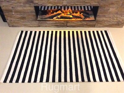 Black White Striped Handmade Recycled Cotton Reversible Rag Rugs Durrie Kilim • 34.99£