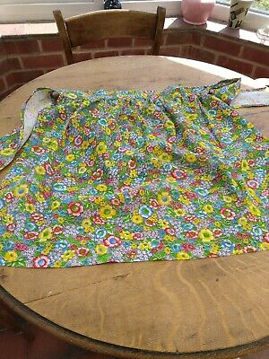 Vintage Retro Bright Flower Pattern Half Apron Pinny With Deep Pocket • 7.50£