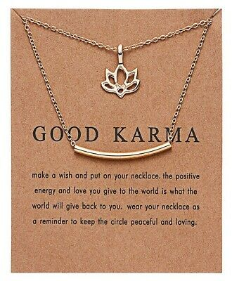 Good Karma, Lotus Flower Gold Plate Necklace  & Message On Card,same Day Post • 3.99£