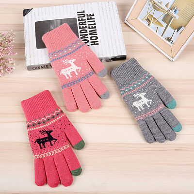 Unisex Couple Knitted Full Finger Gloves Knit Mittens Warm Christmas Cute HD • 3.28£
